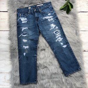AG Ex Boyfriend Cropped Jeans 25 Yr Destroyed